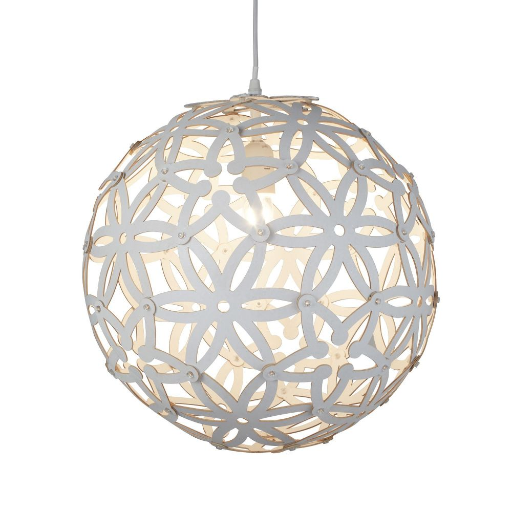 Avalon 1 Light Large Wood Pendant (50Cm Dia), White (Double Insulated) Bx3161-50Wh-17
